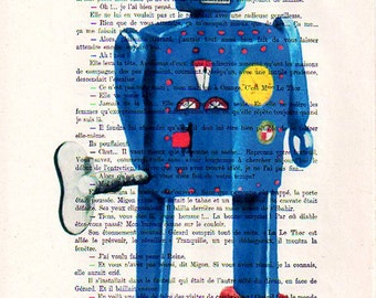 Illustration Giclee Prints Posters Mixed Media Portrait Drawing Art Acrylic Painting Holiday Decor Gifts: Robot - 2