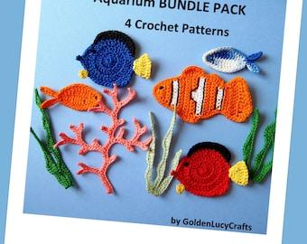 Aquarium Bundle Pack- 4 Crochet Appliques PATTERNS
