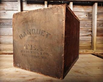 Antique Banquet Tea Shipping Crate -  McCormick - Baltimore