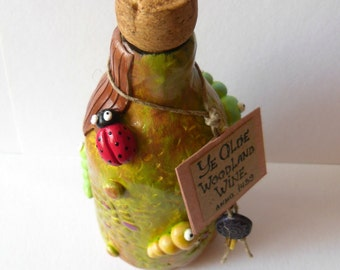 Mixed Media Home Decor - Altered Glass Bottle -  The Woodland Wine - Magical Potion - OOAK