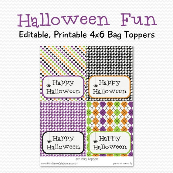 Halloween Party Favor, Treat Bag Topper, Party Supplies -- Editable ...