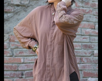 80s 90s SHIMMERY Iridescent FAWN Brown Blouse with LACE Cut outs, Large