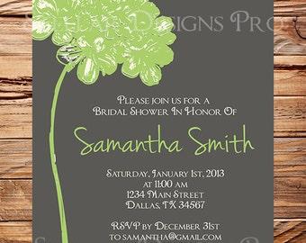 Bridal Shower Invitation,Hydrangea Bridal or Wedding shower Invitation,Wedding Shower, Gray, Pink, Yellow, Blue, Green digital, 5103