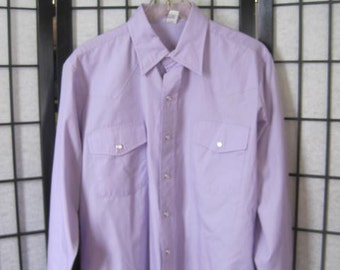 Vintage Cowboy Shirt Malco Modes 1970s 1980s Classic Western Style Lavender Purple Unisex 44 43 Medium Unisex Lilacs