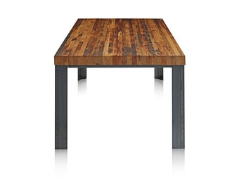 Reclaimed Wood Table with Metal Base