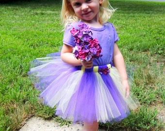 Purple and Yellow Tutu FREE Headband, Sizes Newborn - 5T