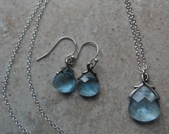 Swarovski Aquamarine blue briolette necklace and earrings set  Sterling Silver Prom Jewelry