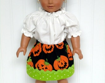 18 inch Doll Clothes Skirt Halloween Pumpkins Green Polka Dot 15 inch Doll Clothes