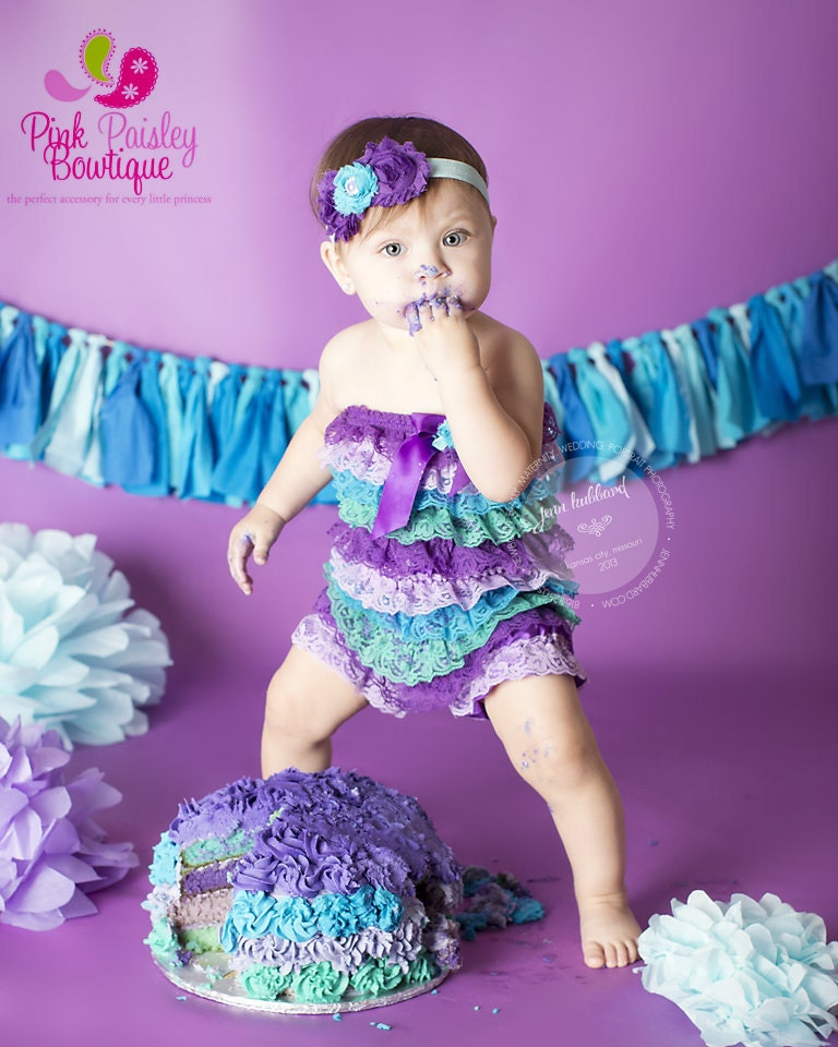 Lace Romper Petti Romper Purple & Aqua Baby Dress Baby