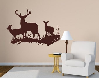 Deer Wall Decal  - Deer in Grassy Meadow Style D Vinyl Wall Decal - Woodland Decor 22329