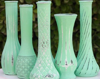 Mint Green Wedding Vase Set Of Five Shabby Chic Vintage Bud Vases