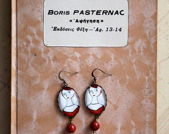 Earrings with painted portraits - Miniature Portrait Jewelry - Bronze and Glass Art Earrings - Red bohemian earrings