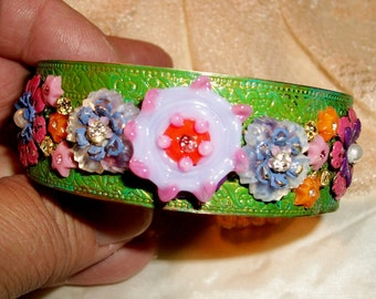 """GLASS Flowered BANGLE - """"Lunching At The Ritz"""" - Handmade Vintage Brass Filigree Bangle, Moss Grn Patina, Wired Glass Flowers, OOAK Bohemian"""