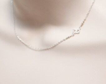 Linked Hearts Necklace, Friendship Necklace, Minimal, Sideways Necklace, Two Hearts, Delicate, Dainty Necklace in Sterling Silver