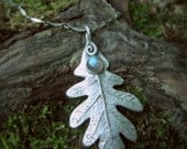 Elven Oak Leaf Necklace With Labradorite - Made With a Real Leaf- Woodland - Silvan Leaf - Artisan Handcrafted with Recycled Fine Silver