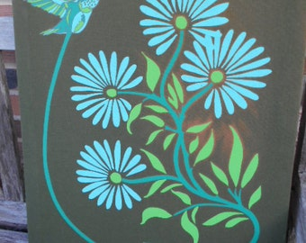 Hummingbird Screen Print with BRIGHT COLORED AQUA Flowers/Silk Screen/Vintage/Flower Power/Nature Picture