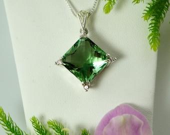 Green Fluorite, Green Fluorite Pendant, Natural Green Fluorite, Cushion Cut, Silver Fluorite Pendant, Square Pendant, Cushion Cut Pendant,