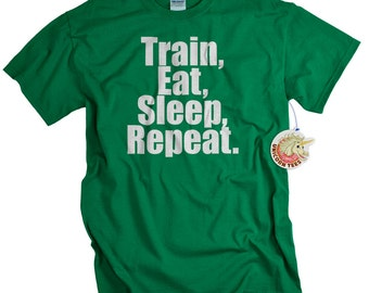 Workout Clothes Gym Shirt for Men Personal Trainer Athlete Gifts Train Eat Sleep Repeat Fitness Apparel for him