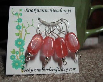 Stitch Markers (4), medium -- cherry quartz beads, silver wire, hand wrapped