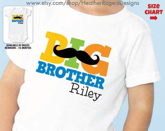 Mustache Big Brother Shirt or Bodysuit - Personalized Mustache birthday Shirt - Personalized Big brother Gift