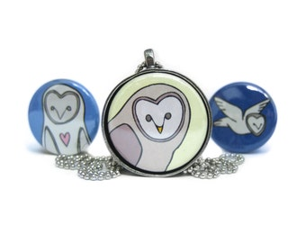Barn Owls Necklace Set of 3 Interchangeable Magnetic Pendants - Owl Pendants
