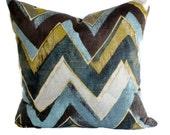 Chevron Pillow, Robert Allen Pillow, Ikat Pillow Cover, Decorative Pillow, 18x18 20x20 22x22, Light Blue, Tan, Navy, Cream, Chartreuse