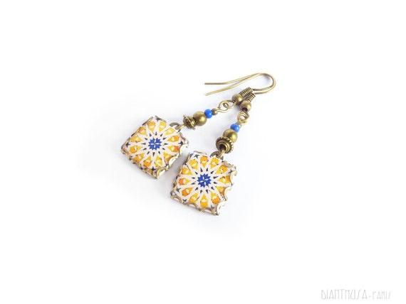 Yellow star pattern tile earrings Mediterranean ceramic tile pattern earrings. Spain, Portugal, Italy Summer earrings