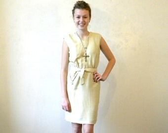 60s Silk Sheath Dress / Mad Men Champagne Wiggle Dress / Sleeveless Party Dress M