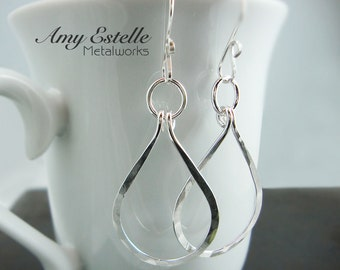 Sterling Silver Teardrop Hoop Earrings - Long Dangle Earrings - Valentines Day Gift - Gift Under 40