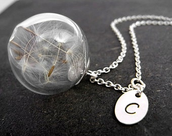 Sterling necklace with Real Dandelion Seeds in glass orb and hand stamped initial sterling charm. 925 dandelion jewelry for her.