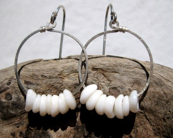 Hawaiian Authentic Small Puka Shells (14) on Hammered 925 Sterling Silver Circular Wire Small Hoop Earrings