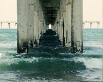 Under the Ocean Beach Pier, Dreamy  San Diego Tide, Soft Focus Coastal Seascape 8x12 10x15 12x18 16x24 Fine Art Photograph Home Wall Decor