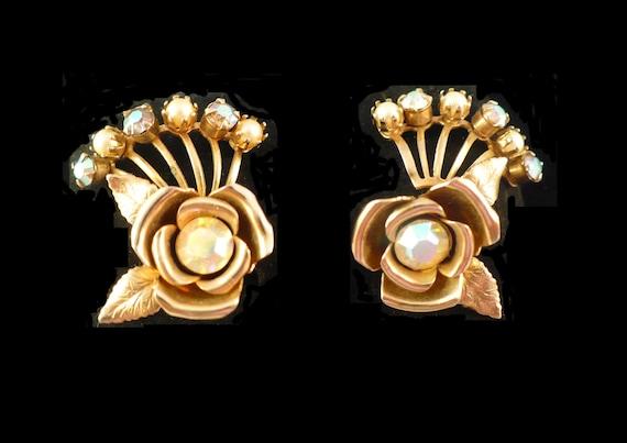 SALE! Vintage Aurora Borealis Rhinestone & Pearl Earrings, 3D Gold Rose Earrings, Peals and AB Rhinestone Earrings, Pearl Clip On Earrings