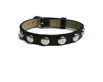 Studded Black Leather Studded Bracelet  - 10mm Black Flat Leather Buckle Bracelet Wristband