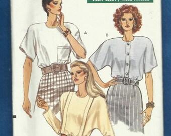Vogue 7694 Dolman Sleeve Rear Button Blouses with Shoulder Pads Size 6-8-10 UNCUT