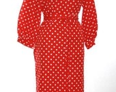 Lillie Rubin Datillo Red and White Polka Dots Dress - Size Small - Ladies Vintage Dress
