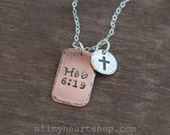 Custom Bible Verse Jewelry with Cross - Mixed Metal Charm Necklace