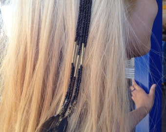 Gold & Black Feathers and Beads Hair Accessory