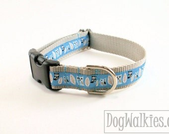 "Grey Owls on Blue Dog Collar // 1"" (25mm) Wide // Martingale or Side Release Buckle // Choice of collar style and size"