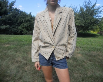 Vintage Studded Jacket Gold Khaki Tan Embellished Buttons Women's Small 1980's Fashion Beverly Goldberg SALE