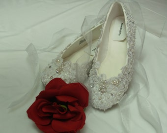 Wedding Ballet Style Slippers Regally enhanced w lace Swarovski Crystals and Pearls - white or ivory, Edwardian, Great Gatsby, Old Hollywood