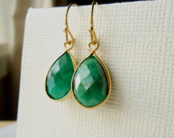 Emerald Earrings, Gold Earrings Large Gemstones Bezel Set in Gold Vermeil - Gemstone Pendants Connectors - Mother Big Little Sister Gift
