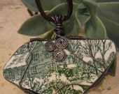 Broken China, Homestead, Wire Wrapped Pendant