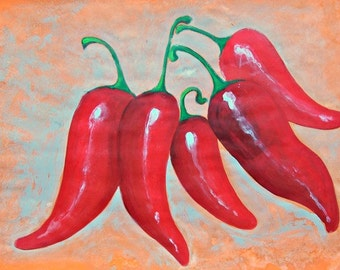 SALE Original painting of red hot peppers kitchen art living room restaurant decor acrylic on paper modern home art