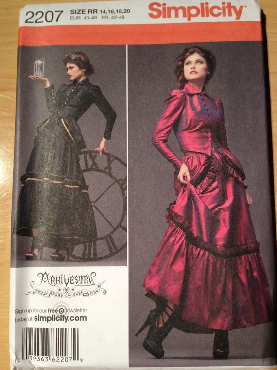 Simplicity Sewing Pattern 2207 Uncut Steampunk Victorian Misses Jacket, Skirt and Bustle Size 14-20