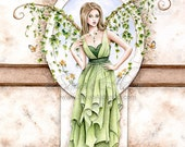 Fairy Art Print - Fairy Wings - Nature Art - Ivy Fantasy Art - Female Figure Painting - Green Watercolor - Sarah Alden