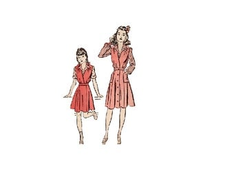 Advance 3030 Sewing Pattern 1940s WWII Style Girls Jumper Dress Long Sleeve Blouse Flared Skirt Deep V Neck Breast 24 Depression Era