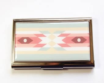 Business Card Case, Card case, business card holder, Tribal Pattern, Western Print, Pastel Colors (2972)
