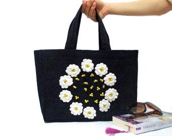 Denim Tote Bag, Crochet flowers, Jean Bag, Navy Blue, Denim Bag, Eco Friendly, Denim Laptop Bag, Shopping bag, Cheap bag