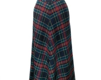 vintage 1970s plaid wool maxi skirt / Agile Florence Walsh / hostess skirt / fall winter holiday skirt / women's vintage skirt / size 6